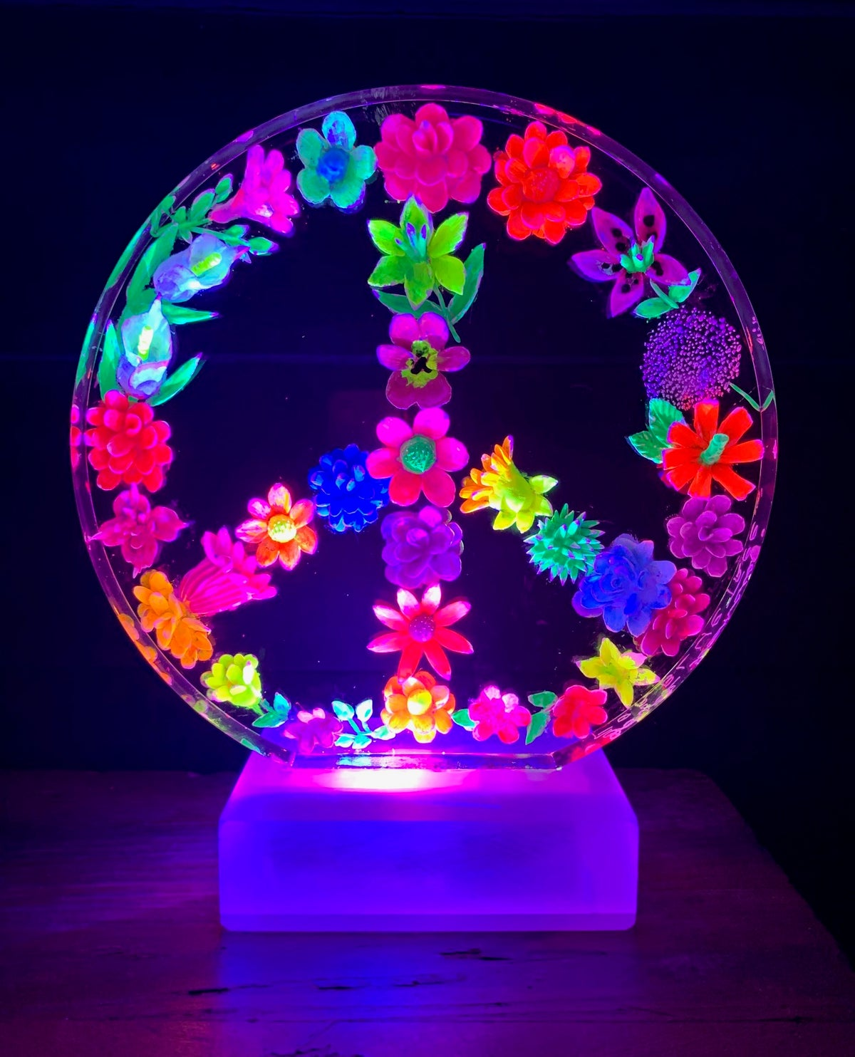 Image of Painted Floral Peace Lamp
