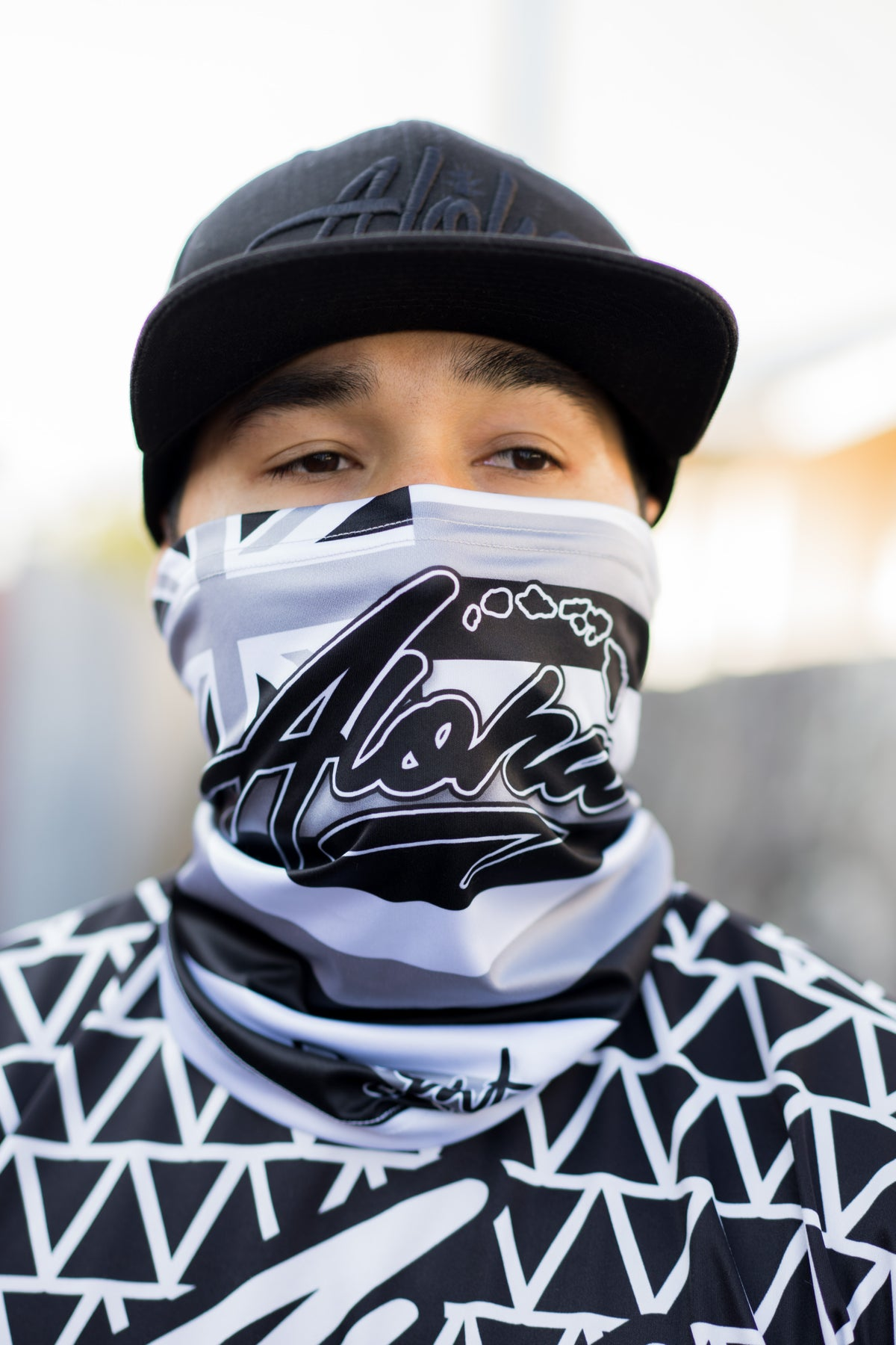 Aloha Islands Flag Face Shield (Grey/Black/White)