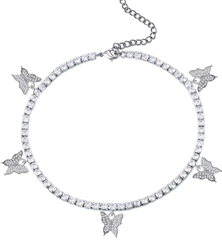 Image of Silver Butterfly Anklet