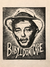 Robert Mitchum. Baby, I Don't Care. Original A3. linocut print. Limited and Signed. Art.