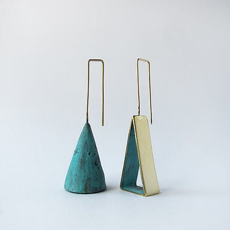Image of Copper Patina Cone / Brass Patina Open Triangle / Large