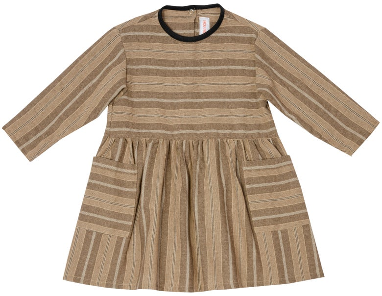 Image of THE DAY DRESS, striped chestnut
