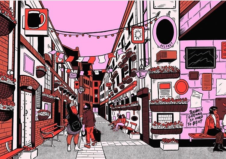 'Belfast Commercial Court' A3 Print by Fiona McDonnell