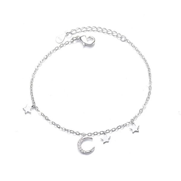 Image of Luna Moon and Stars Bracelet (Sterling Silver)