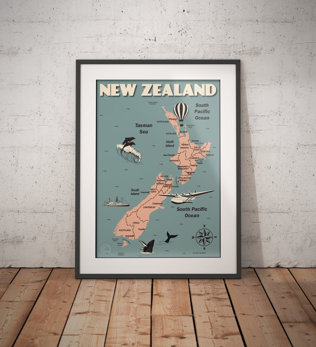 Image of Vintage poster New Zealand Map - Fine Art Print