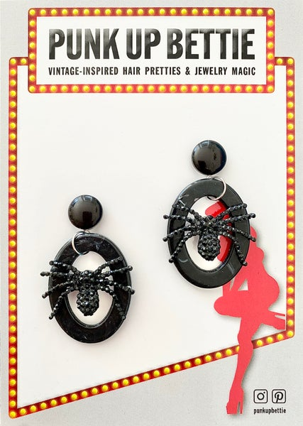 Image of Itsy Witchy Spider Earrings - Raven Black