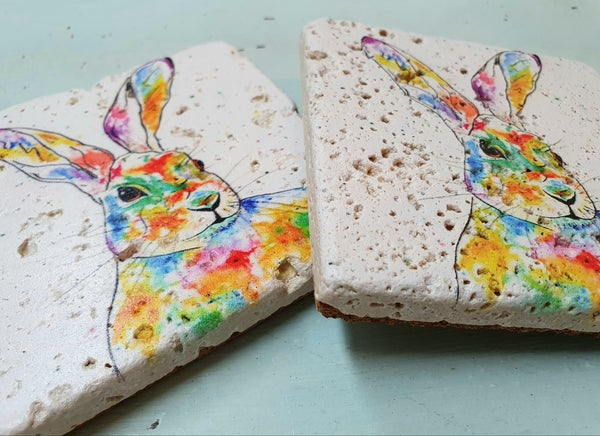 Image of 'Rainbow Hare' Stone Coaster