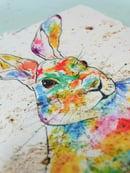 Image 2 of 'Rainbow Hare' Stone Coaster