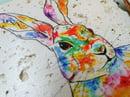 Image 4 of 'Rainbow Hare' Stone Coaster