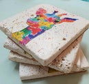 Image 3 of 'Rainbow Giraffe' Stone Coaster