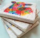 Image 4 of 'Rainbow Cow' Stone Coaster