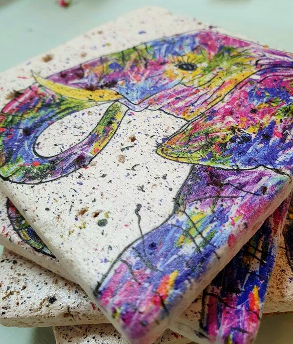 Image of 'Rainbow Elephant' Stone Coaster