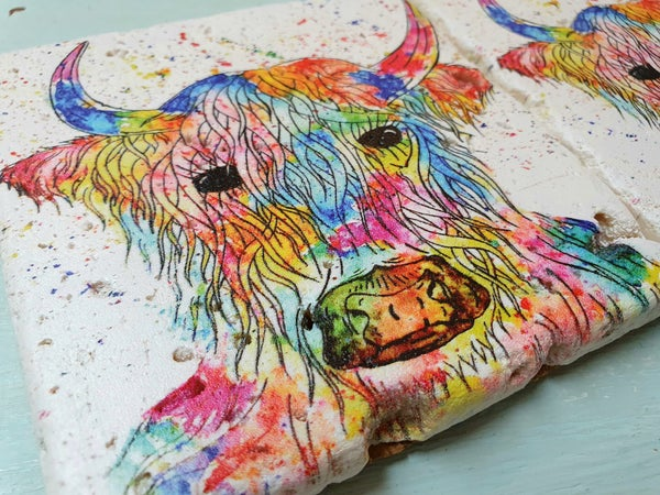 Image of 'Rainbow Highland Cow' Stone Coaster