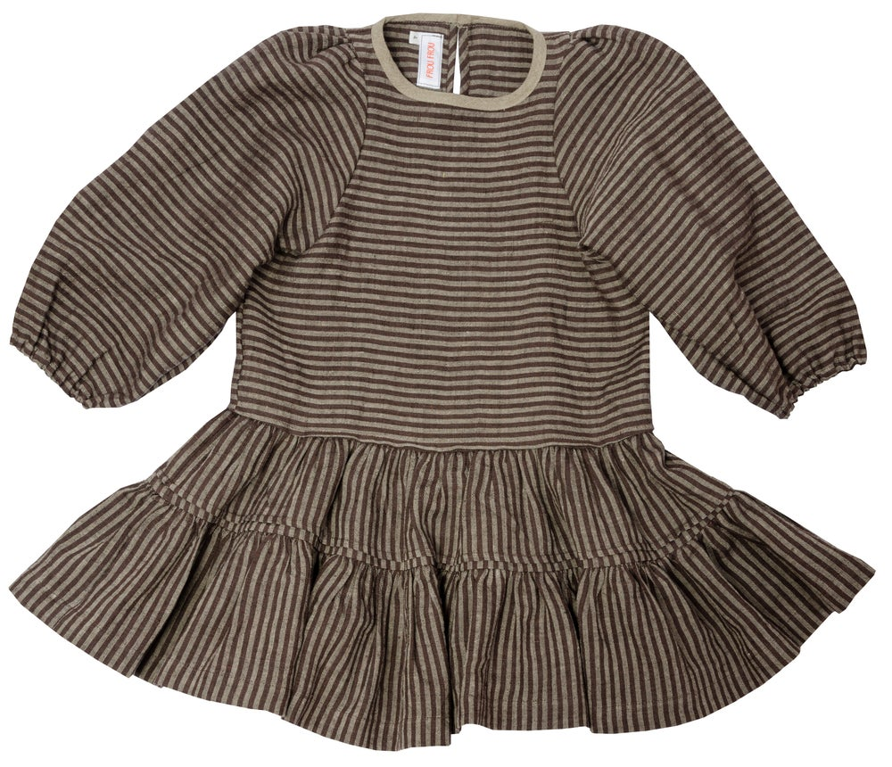 Image of  THE VOLANT DRESS black striped