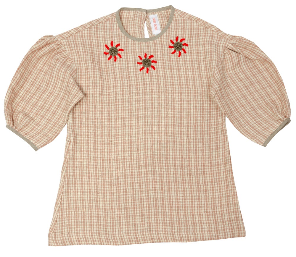 Image of  hand emroidered DRESS SANS SOUCIS checked rose