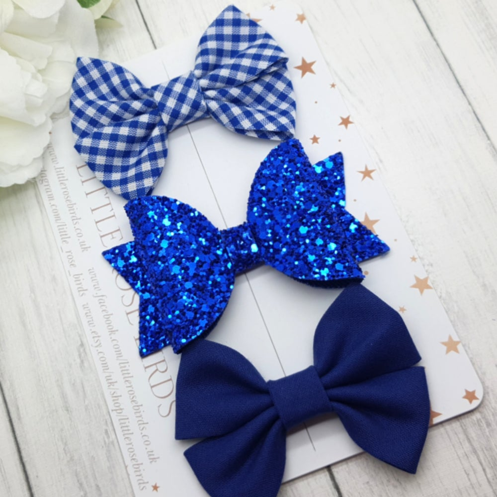 Image of Royal Blue School bows - Choice of Headband or Clip