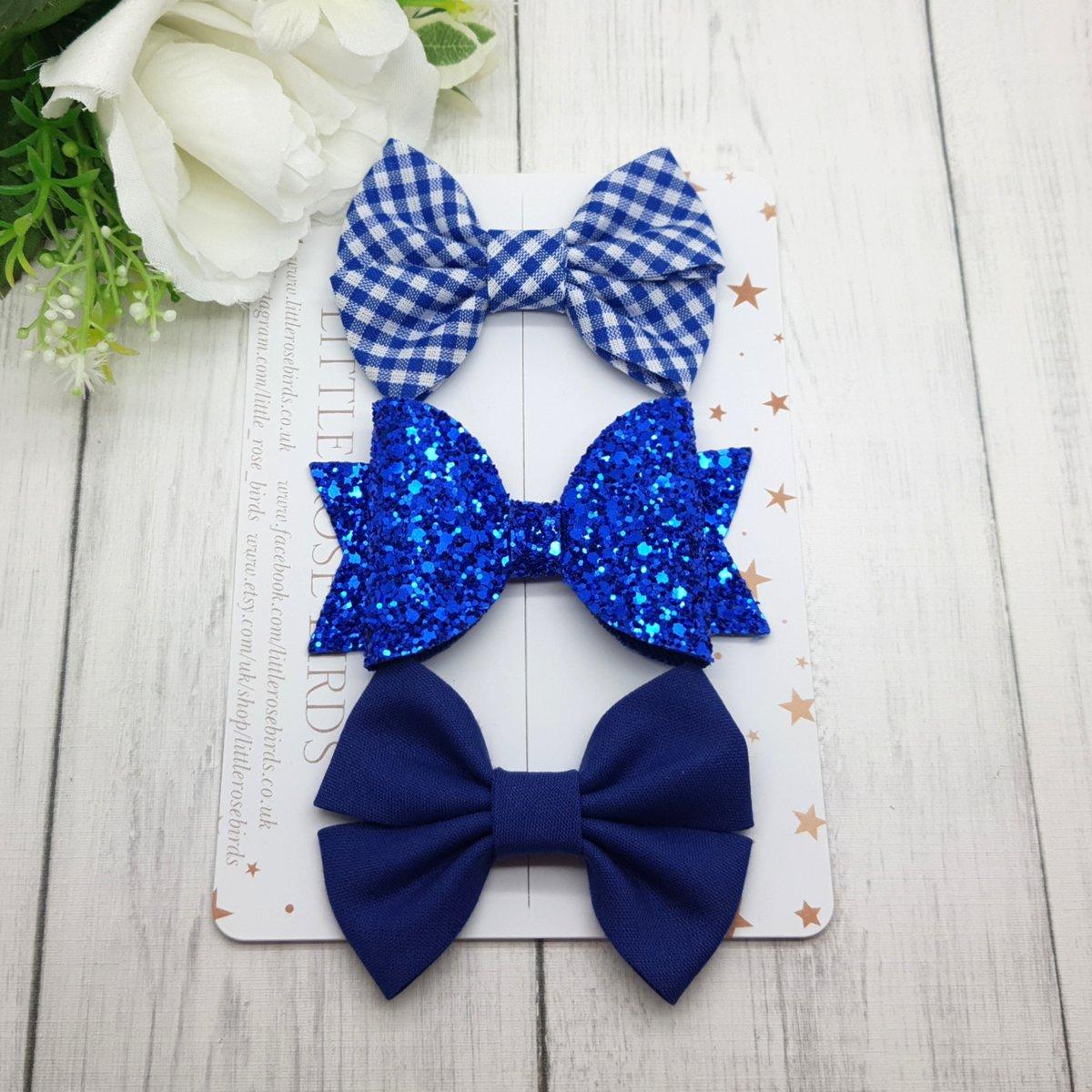 Image of Royal Blue School bows - Choice of Headband or Clip