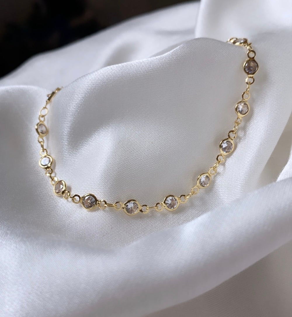 Image of 18K GOLD PLATED CUBIC ZIRCONIA ANKLET