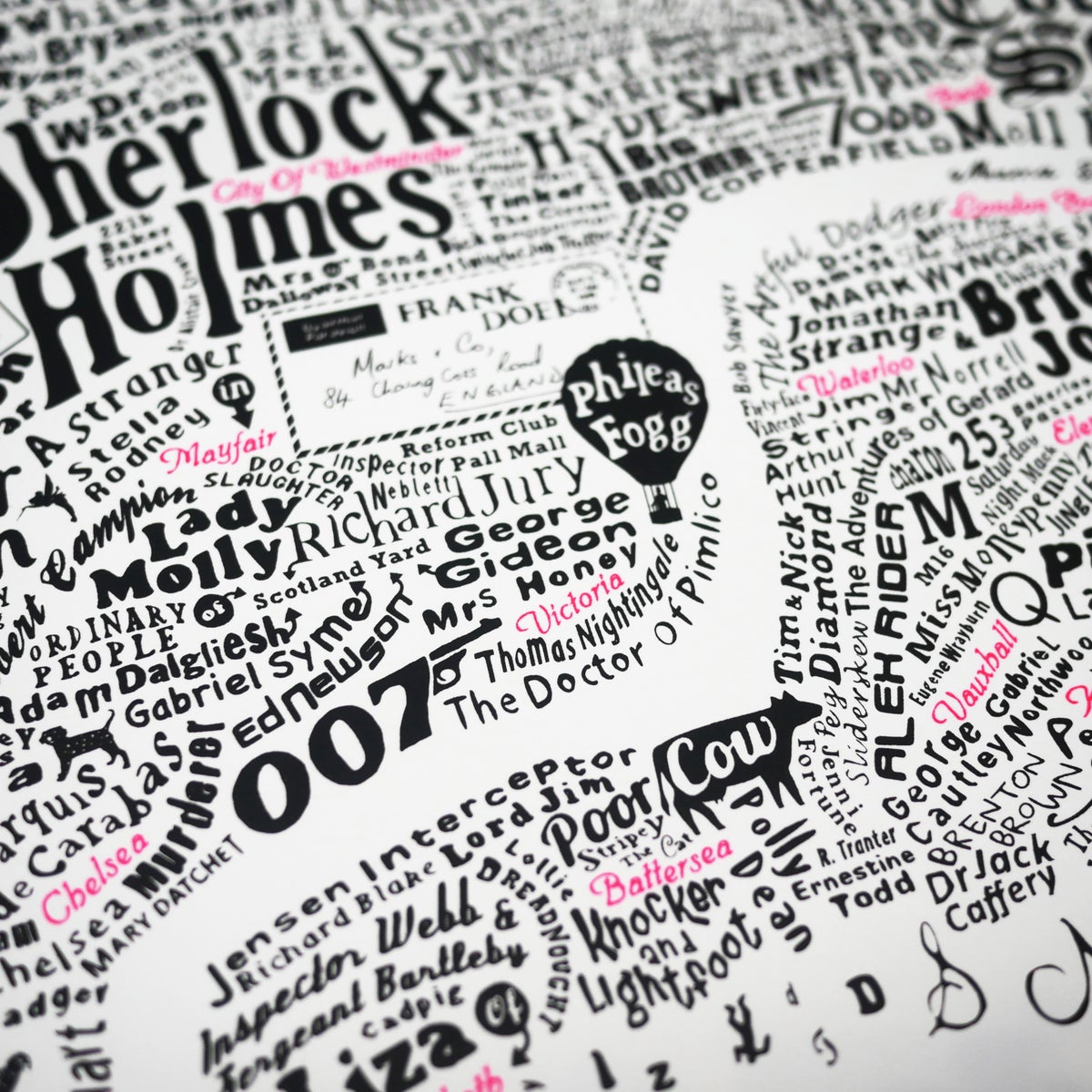 Image of Literary Central London Map (black and fluoro pink screenprint)