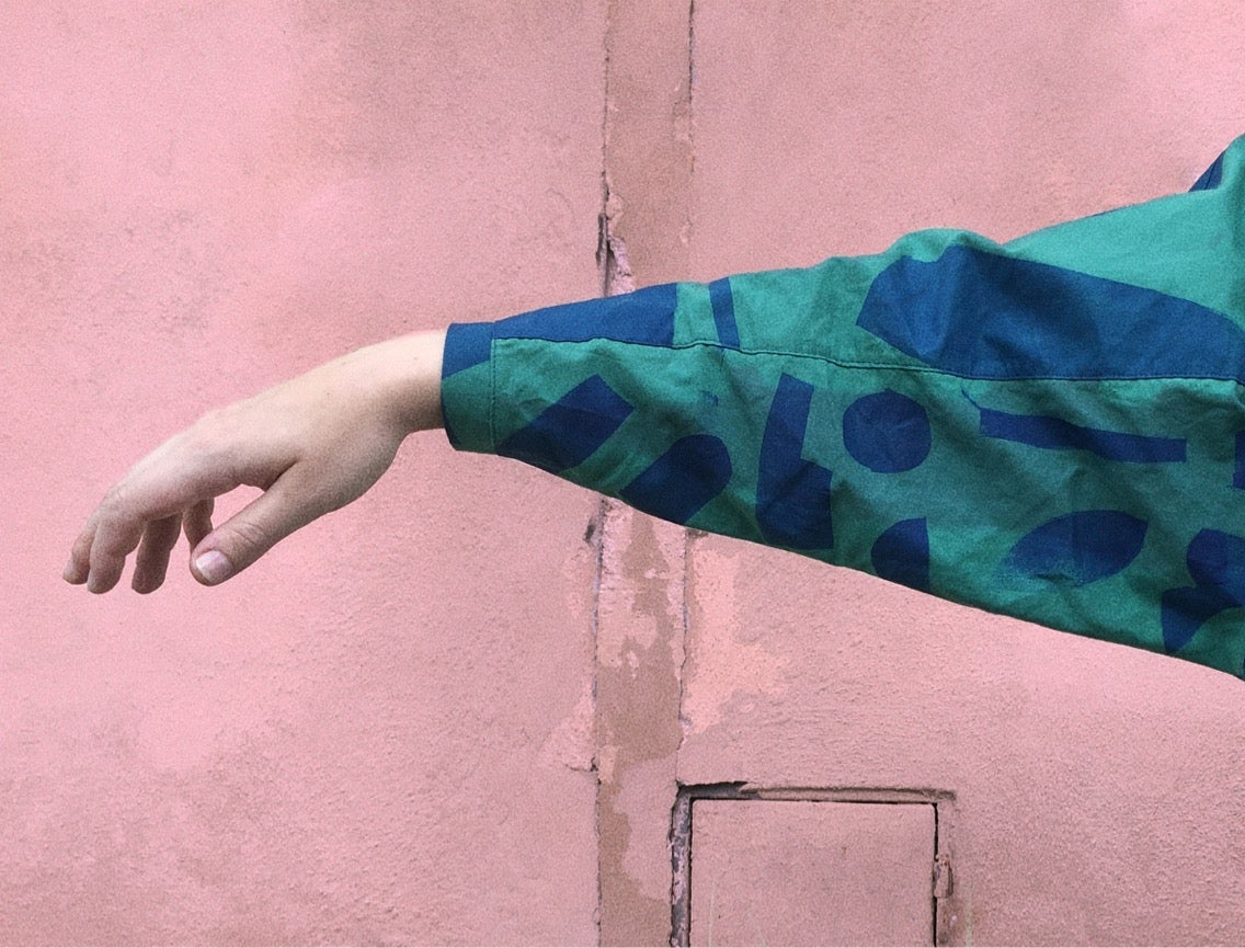 Image of GREEN LONG SLEEVE SHIRT/ stencil paint