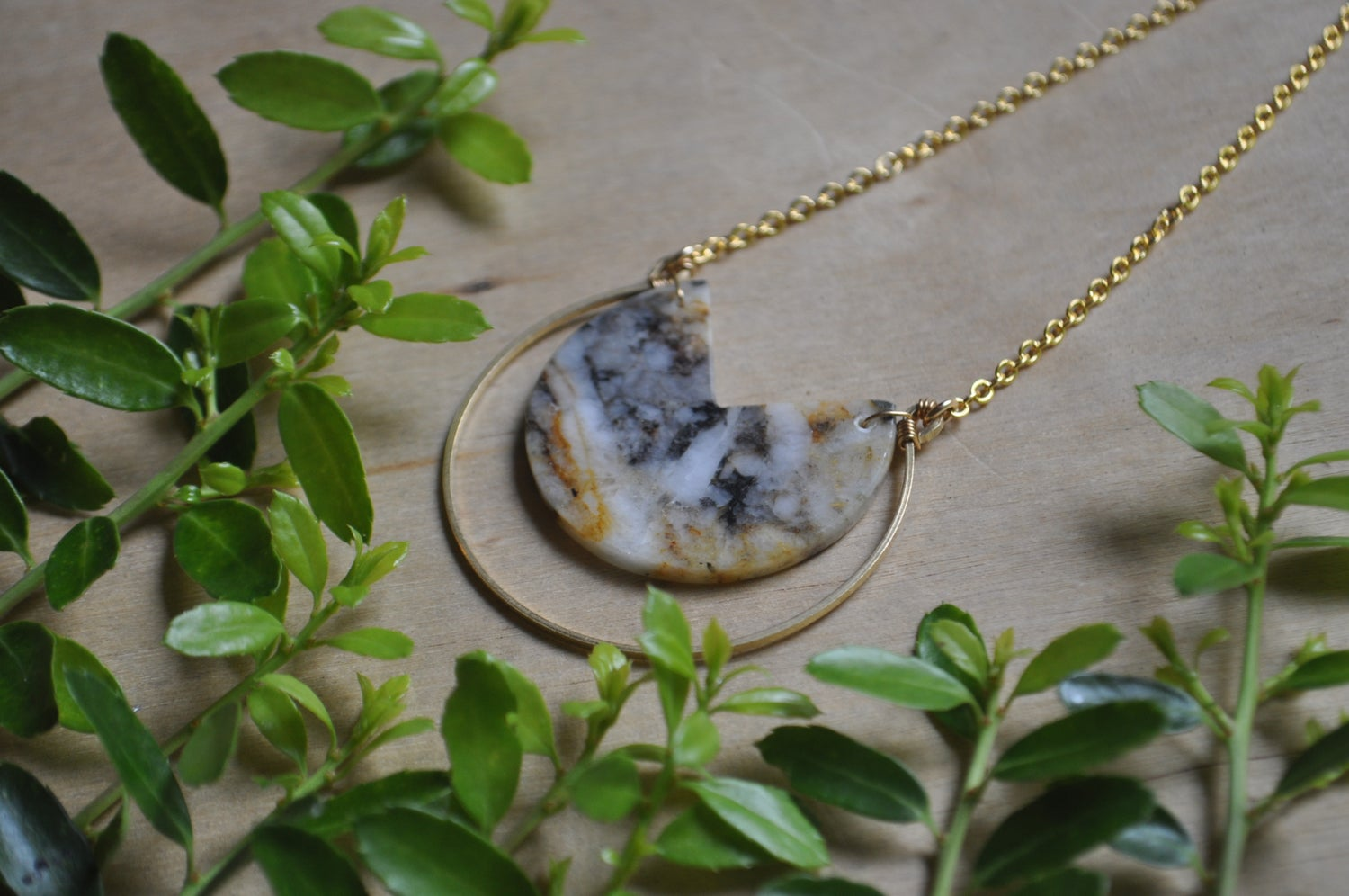 Image of White Quartz and Pyrite Hoop Necklace