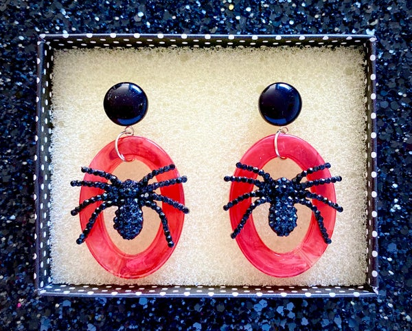 Image of Itsy Witchy Spider Earrings - Blood Red