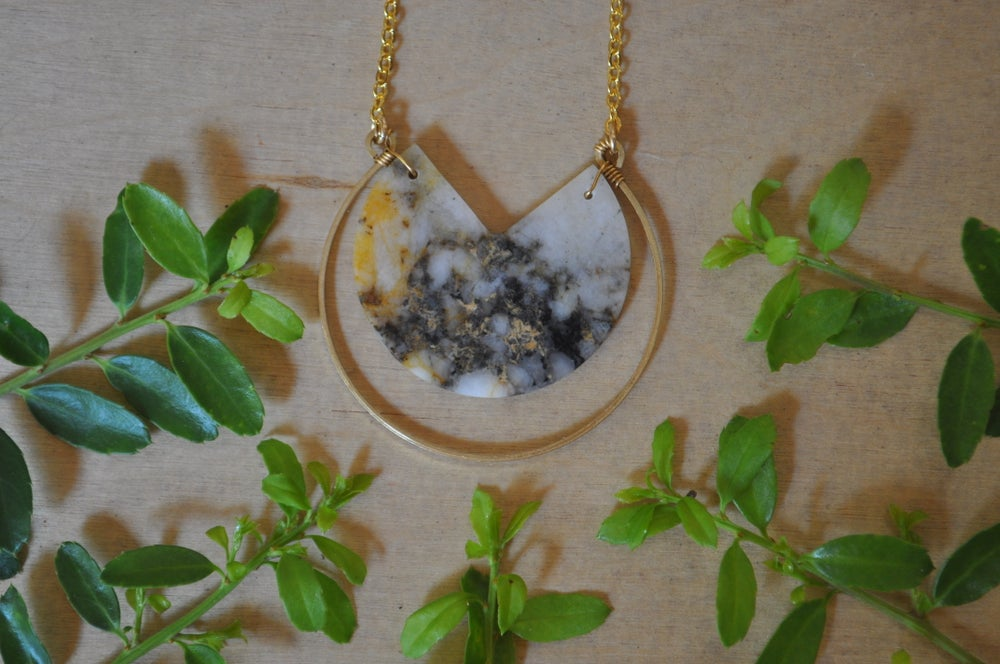 Image of White Quartz and Pyrite Hoop Necklace OOAK