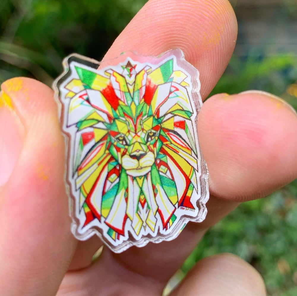 Image of Sacred Lion mini acrylic pin