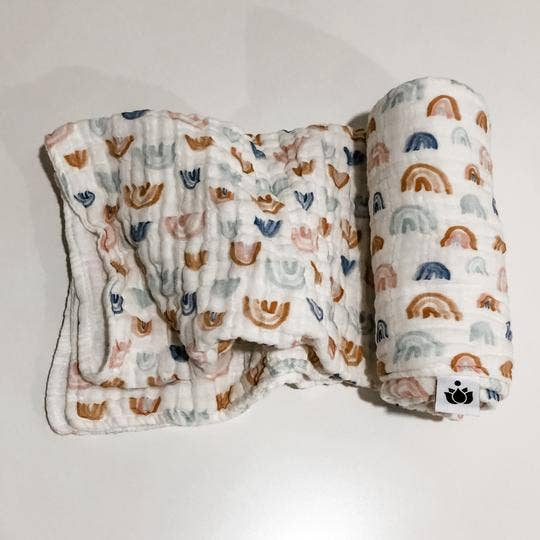 Image of Earthen Rainbow Organic Cotton Swaddle Quilt
