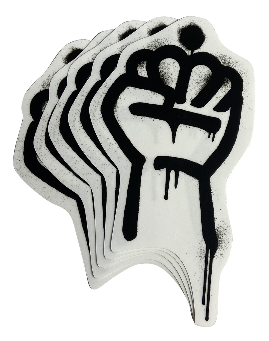 Image of QC Fist Clear Vinyl Stickers (5-pack)