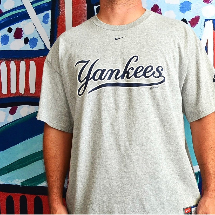 Image of 2005 New York Yankees Nike Center Swoosh Script T-Shirt Sz.XL