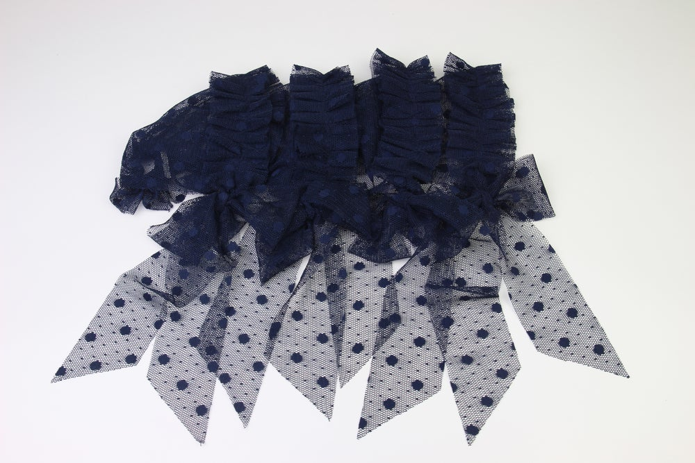 Image of Navy Frilled & Dotted Newborn Bonnet