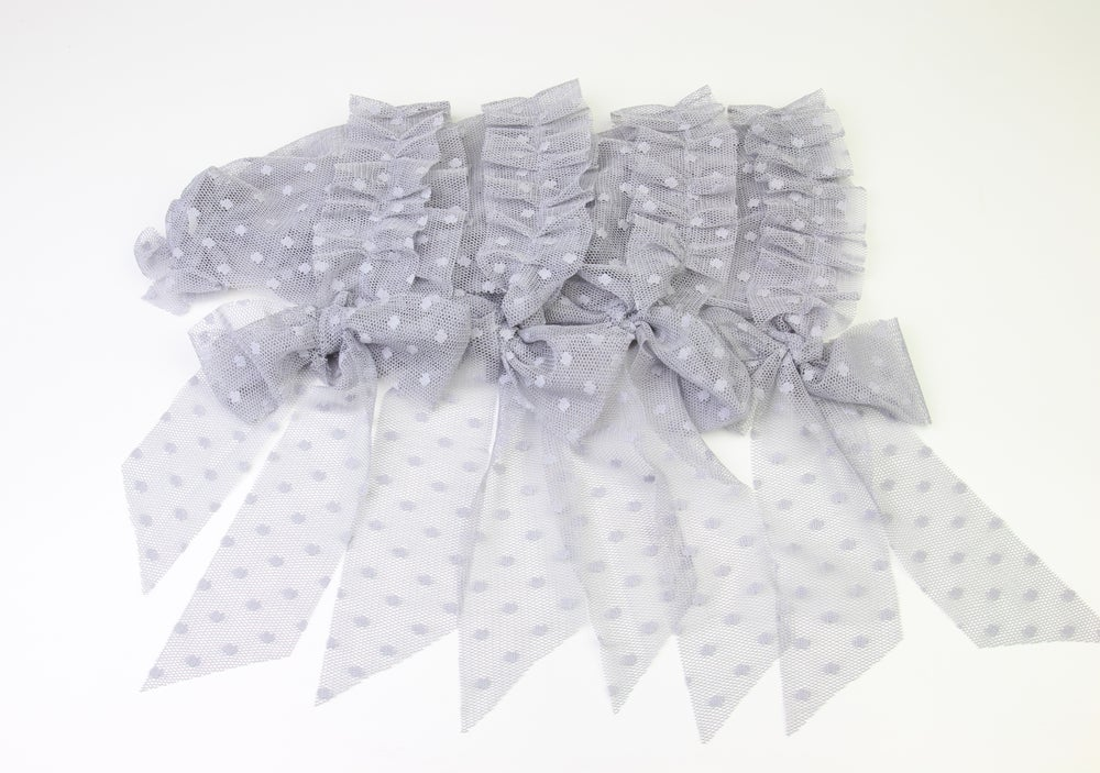 Image of Grey Frilled & Dotted Newborn Bonnet