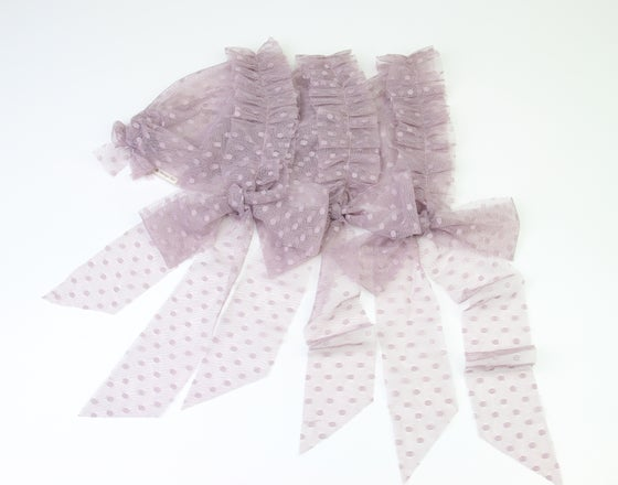 Image of Dusty Purple Frilled & Dotted Newborn Bonnet