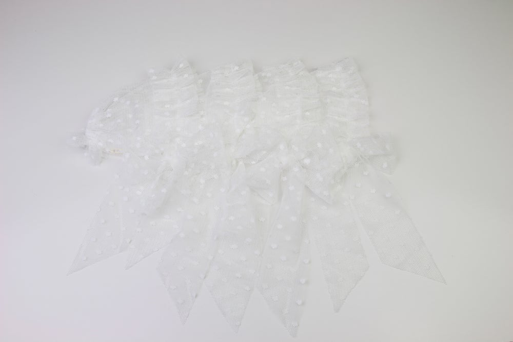 Image of White Frilled & Dotted Newborn Bonnet