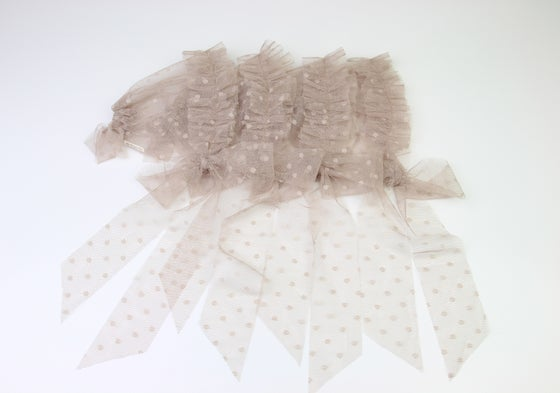 Image of Beige Frilled & Dotted Newborn Bonnet