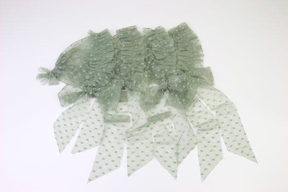 Image of Dusty Green Frilled & Dotted Newborn Bonnet