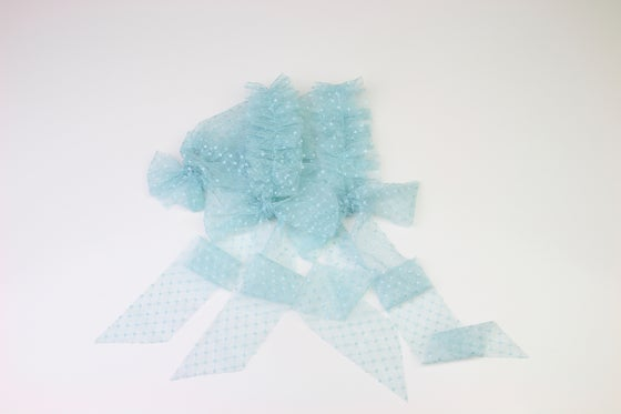 Image of Blue Frilled & Dotted Newborn Bonnet