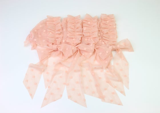 Image of Salmon Frilled & Dotted Newborn Bonnet