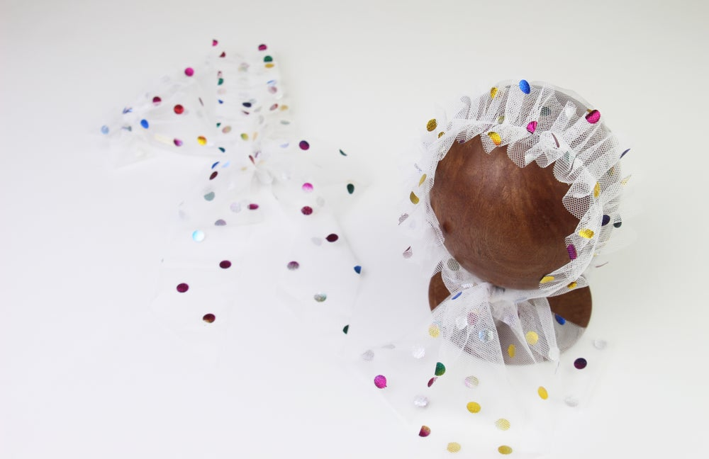 Image of Rainbow Frilled & Dotted Newborn Bonnet