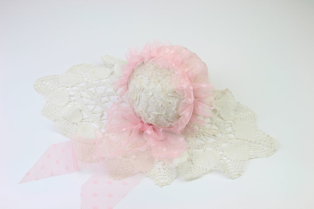Image of Pink Frilled & Dotted Newborn Bonnet
