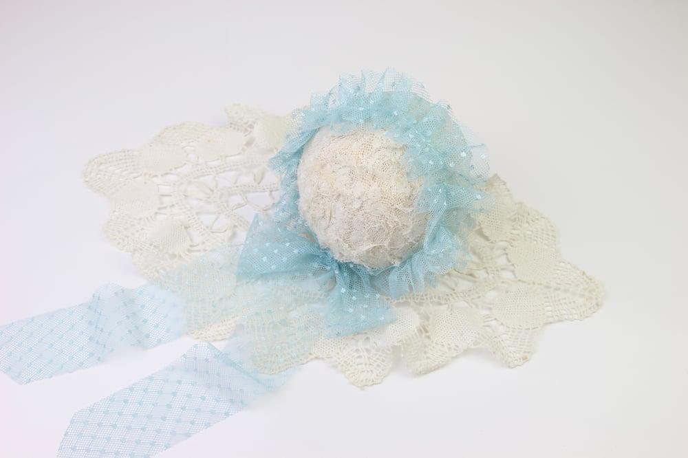 Image of Blue Frilled & Dotted Newborn Bonnet