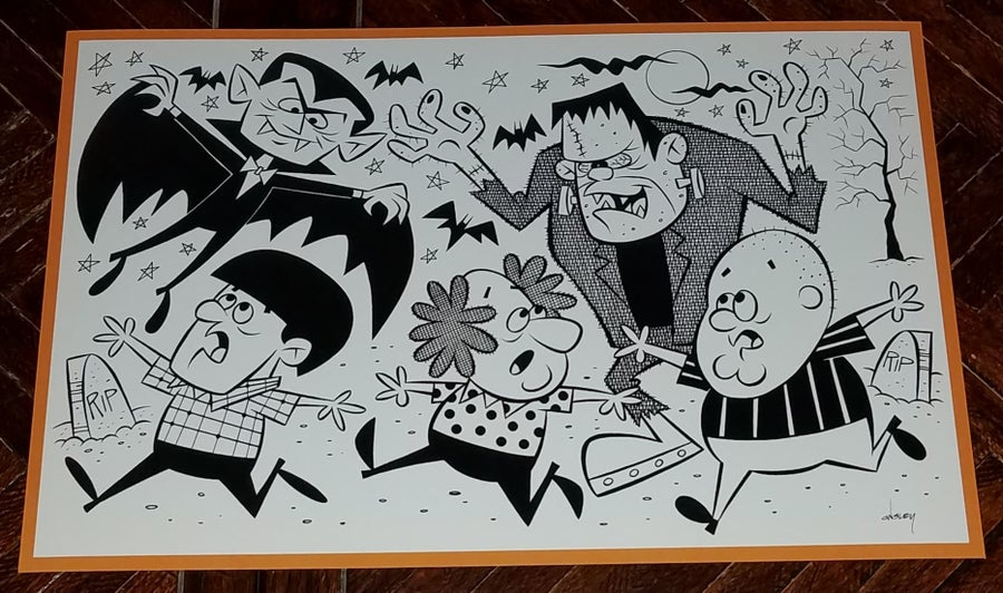 Image of THE THREE STOOGES MEET THE MONSTERS 11x17 PRINT!