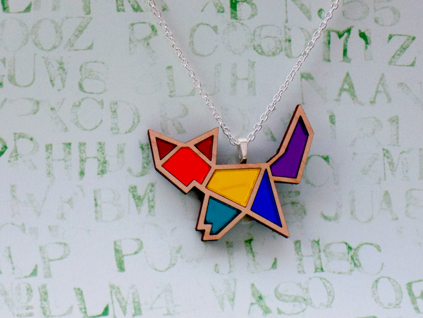 Image of Rainbow Pride Fox Necklace