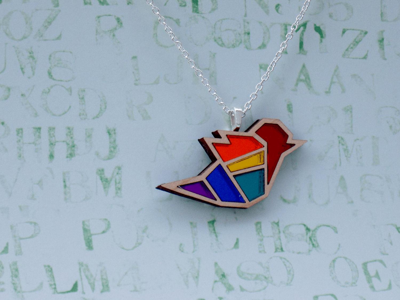 Rainbow Pride Bird Necklace
