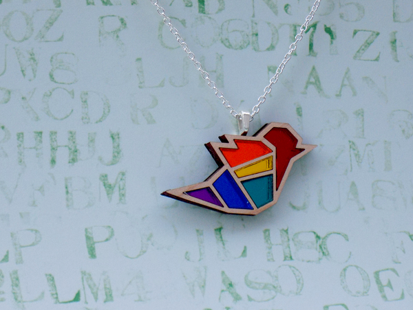 Image of Rainbow Pride Bird Necklace