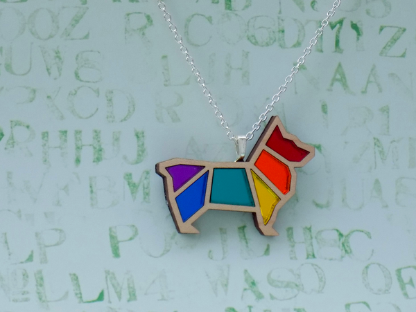 Image of Rainbow Pride Corgi Necklace