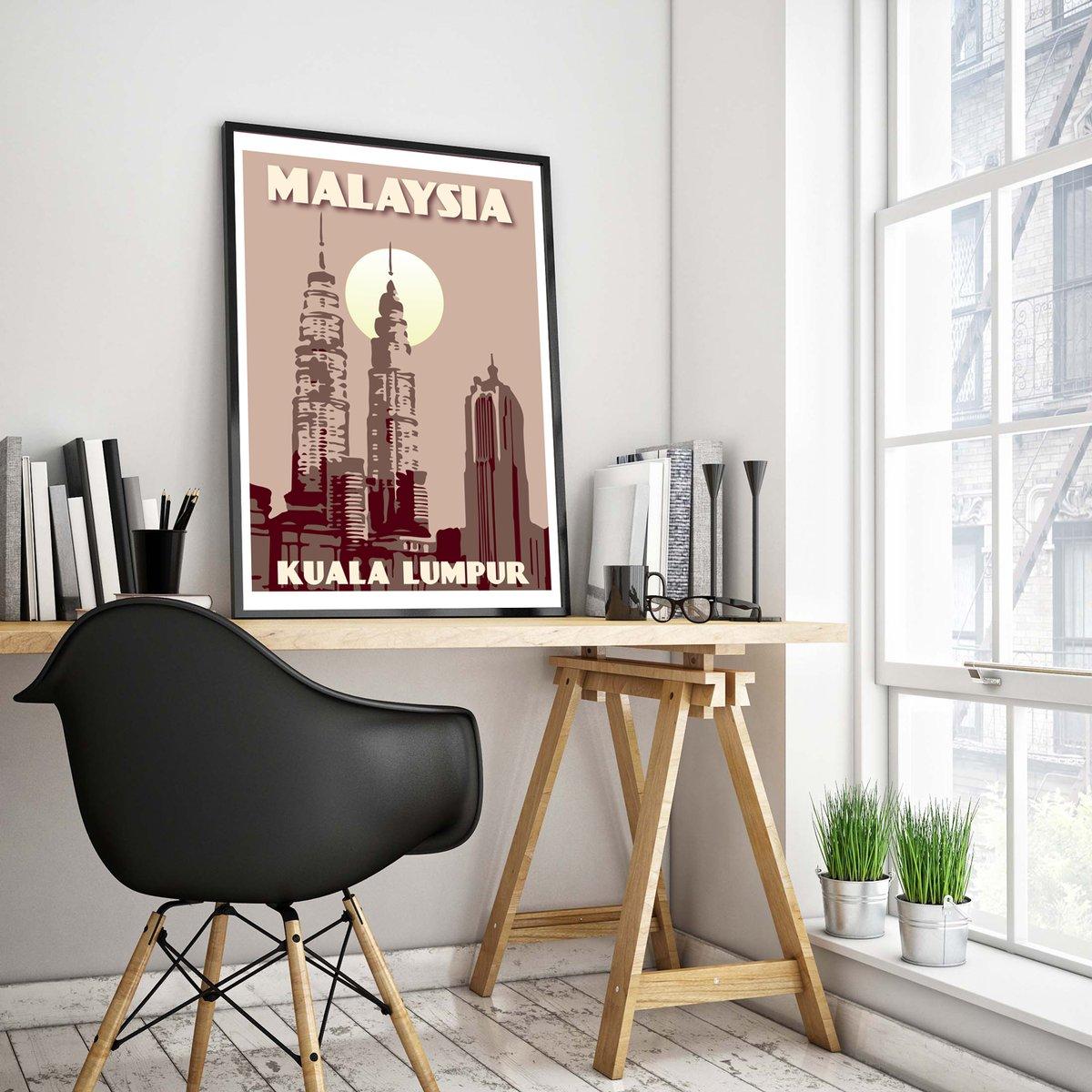 Image of Vintage poster Malaysia - Kuala Lumpur - Petronas Towers Pink - Fine Art Print