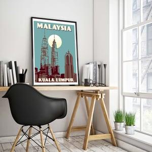 Image of Vintage poster Malaysia - Kuala Lumpur - Petronas Towers Blue - Fine Art Print
