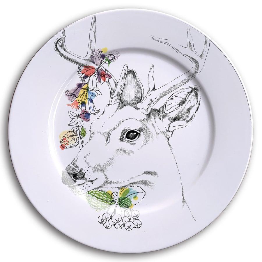 Image of WHITE TALED DEER Dinner Plate